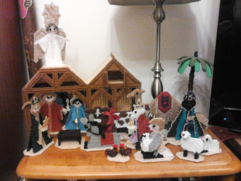 Pam's mum made this knitted nativity scene.